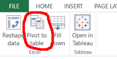 Tableau Excel Add on Pivot
